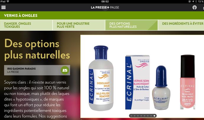 4 Nov 2016 La Presse + Ecrinal Ongles