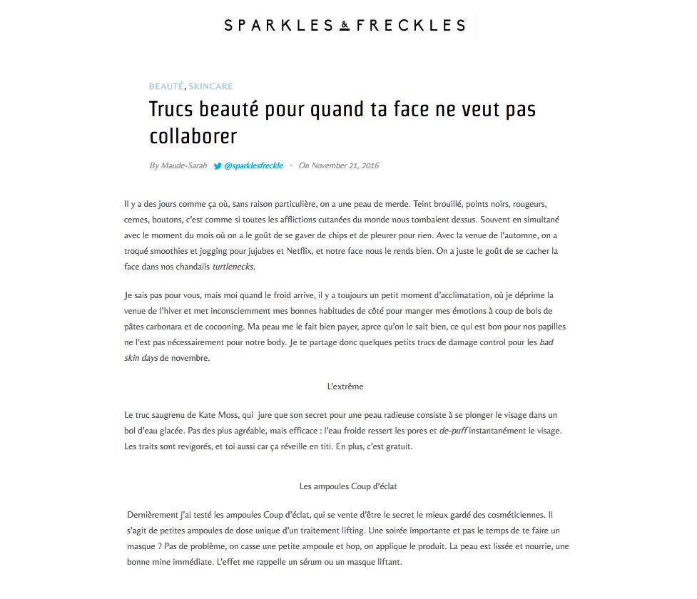 Nov 21 2016 Sparkles et Fleckles Coup DEclat